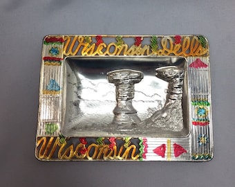 Wisconsin Dells State Vintage Souvenir Pot Metal Ashtray