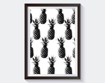Pineapple Print, Black and White, Poster, Wall Decor.
