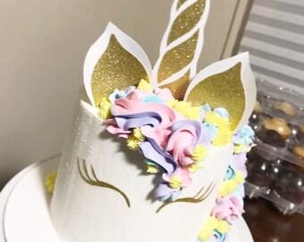 Unicorn horn cake topper- Unicorn cake toppers