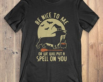 Dachshund T-Shirt Gift: Be Nice To Me Or Me Will Put A Spell On You
