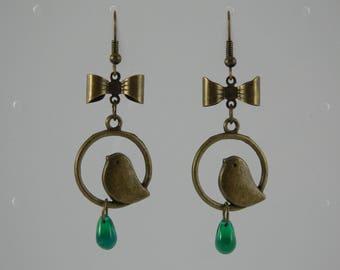 Green Bird drop earrings