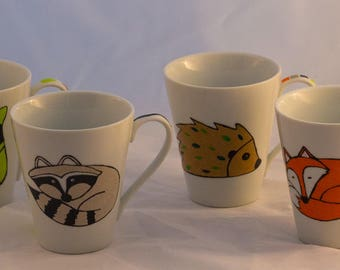 """Forest animals"" China mugs"