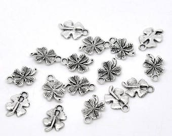 10 charms in silver 4 leaf clover