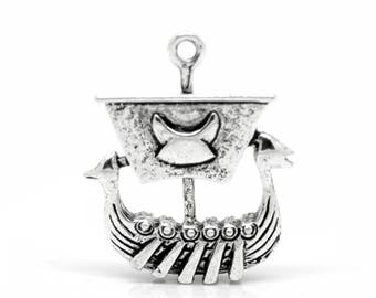 2 viking boat charms/pendants in antique silver