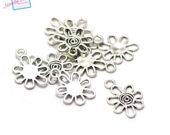 """20 charms """"Sunflower"""" 17 x 12 x 1 mm 110 silver"""