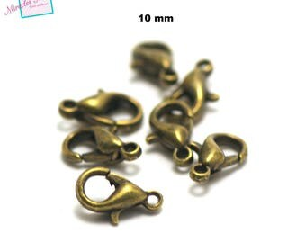 20 small lobster claw clasps, 10 x 5, 5 mm, bronze