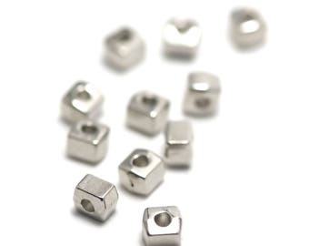 "50 ""rectangle mini"" beads, 5 x 4 x 4 mm, silver, 048"