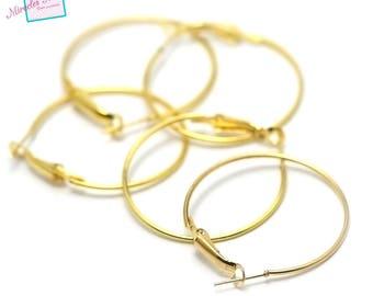 20 hoop earrings 35 mm, gold, support earring