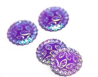 4 cabochon embellishment craft 24 mm purple round, flower pattern