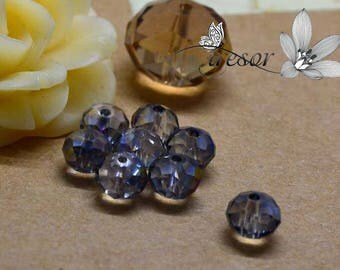 Set of 10 beads, glass, Crystal, faceted, luster, 6x4mm rondelle