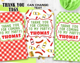 BBQ tags Picnic Thank you tags Gift tags BBQ birthday party tags