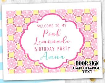 Pink Lemonade Door sign Lemon birthday sign Table sign