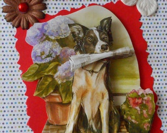C103 card 3D postcard of a dog holding a newspaper on a background patterned dots.