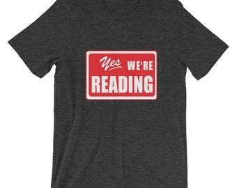 Read Across America Yes We're Reading  T-Shirt literacy reading library librarian books reading soecialist dr seuss school education