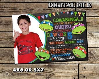 Personalize Teenage Mutant Ninja Turtles Invitation,TMNT Birthday Invitation,Ninja Turtle Birthday,Ninja Turtle Party,Ninja Turtle Invite