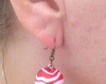 Christmas red and white dangle earrings
