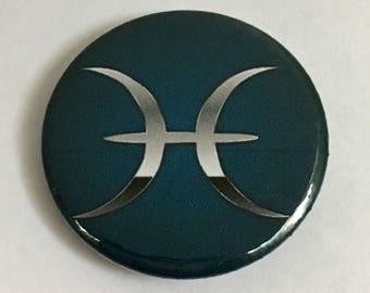 Zodiac symbol Pisces Astrology sign button pin pinback