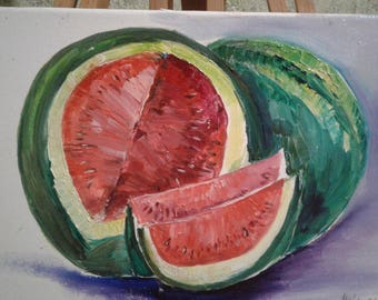 Original painting.Oil on canvas. Stretched canvas Varnished. size: 20cmX30cm, watermelon, Delicious fruits