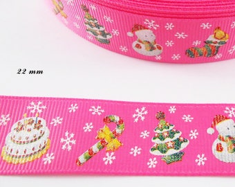 Pink grosgrain Ribbon White Snowflake Christmas tree snowman sleeve 22 mm sold by 50 cm