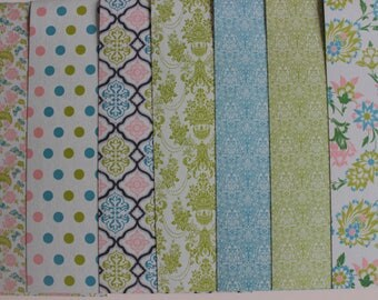 7 sheets patterned 30 x 15 vintage floral blue/green theme