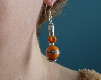 Orange Lampwork Glass beads earrings