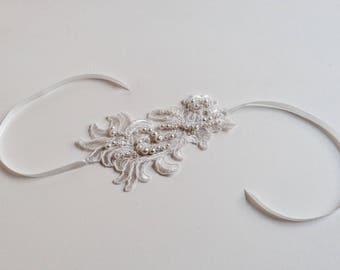 Guypure beaded bridal bracelet