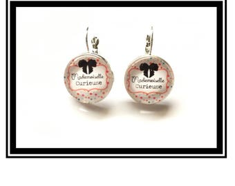 "Earrings original and funny,""Miss curious""bow, black, polka dots, polka dots, funny, MOM"