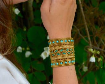 Macrame bracelet, boho bracelet, ethnic bracelet, natural turquoise, cuff bracelet, macrame jewelry, boho jewelry, bohemian style