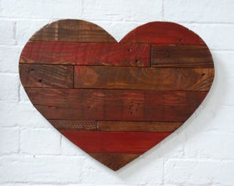 Rustic Red Heart Wall Art, Shabby Chic Heart, Rustic Heart, Heart Wall Art, Reclaimed Wood Heart, Pallet wood Heart