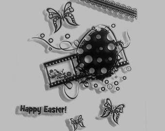 Silicone - clear stamp set - Easter Theme pads / eggs / Butterfly / negative / cinema / border