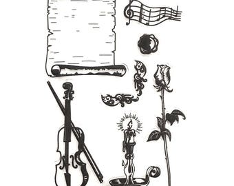 Stamps - clear stamp set - romantic Theme - violin silicone / candle / rose / parchment / music note / seal