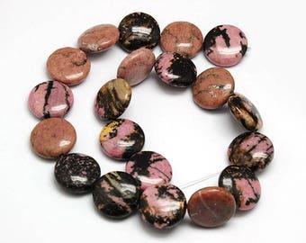 10 round and flat beads, rhodonite - Rhodonite gemstone bead - stone Rhodonite semi precious round and flat
