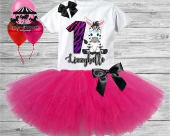 Birthday Tutu Outfit, Zebra Birthday Girl Outfit, Any Age Personalized Birthday Shirt,  3pc Outfit (mc558)
