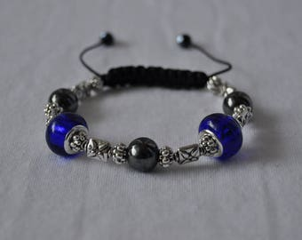 Shambala bracelet blue murano glass beads