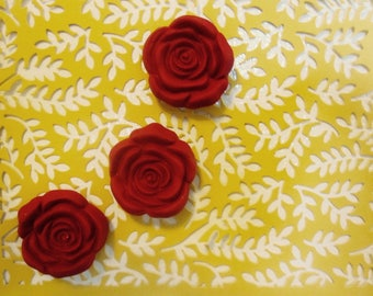 Set of 3 'Red Rose Cabochon' Magnets