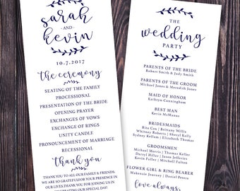 Custom Wedding Program - Made to Order | Custom | Printable | Classic