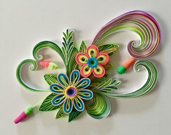 Flower Design:Handmade Quilling Art Gift-Handmade Special Gift-Wall Art Picture-House Warming Gift-Special Flower Design-Gift For Occasion