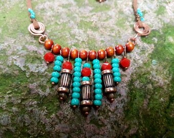 African necklace + earrings