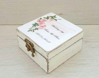 Custom wedding ring box, Rustic ring box, Personal box, Ring bearer box, Floral wedding, Custom holder, Proposal box, Wooden wedding holder