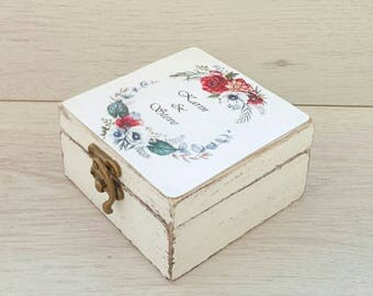 Rustic ring box, Personalized wedding holder, Ring bearer box, Custom ring box, Proposal ring box wooden, Rustic wedding, Wedding ring box