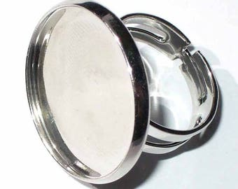 1 silver ring set with cabochon 23mm AC130