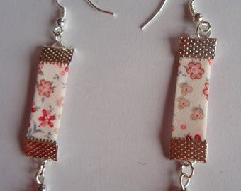 LIBERTY FLORAL PINK WHITE EARRINGS