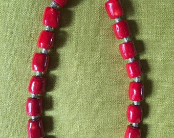 necklace:  red coral with silver beads
