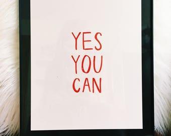 Yes You Can | Original Print | Handmade | Motivational Quote | Girl Boss | Home Decor | Gallery Wall Art | Blush Pink Art | Feminine Decor