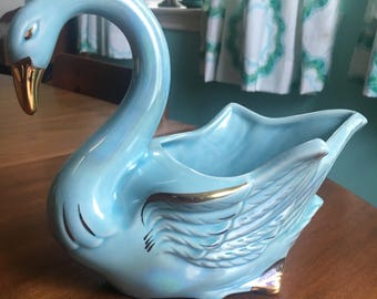 Beautiful Blue Vintage Swan Planter