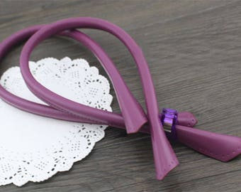Handle for handbag faux leather 60cm purple