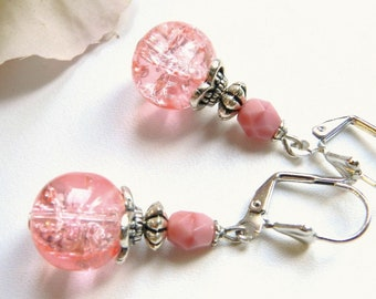 Pale pink vintage style Leverback Earrings