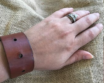 Brown Leather Cuff with holes