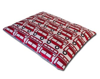 London Bus Dog Bed, Quilt, Pillow, Crate Mat