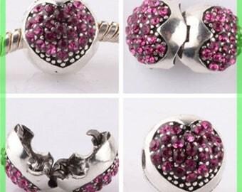 Pearl N955 clip stopper European blocker rhinestones for charms bracelet